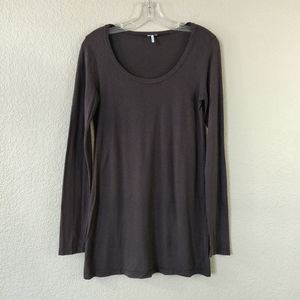 Splendid Brown Long Sleeve Top Shirt Cotton Modal